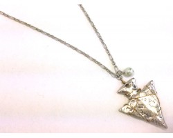 Silver Matt Arrowhead on Link Chain Necklace