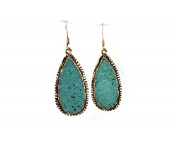 Turquoise Teardrop Gold Stamped Edged Hook Earrings