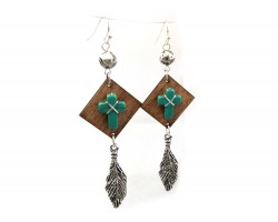 Brown Wood Turquoise Cross Silver Feather Earrings