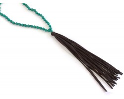 Brown Leather Tassel Turquoise Wood Bead Necklace