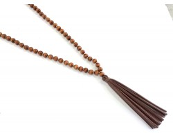 Brown Dyed Wood Bead Brown Leather Tassel Necklace