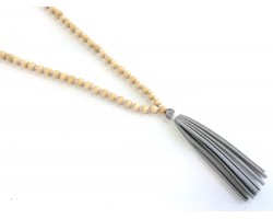 Natural Wood Bead Silver Leather Tassel Necklace