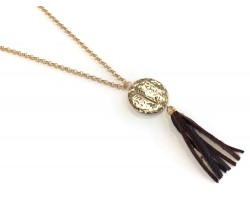 Gold Hammer Disc Arrow Faith Brown Tassel Necklace