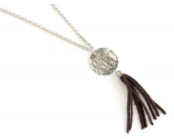 Silver Hammer Disc Arrow Faith Brown Tassel Necklace