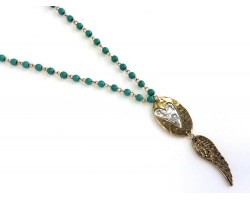 Turquoise Linked Beads Wild At Heart Wing Necklace