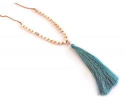 Aquamarine Tassel Dyed Magnesite Bead Necklace