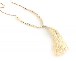 Beige Tassel Beige Dyed Magnesite Bead Necklace