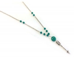 Silver Chain Arrow Pendant Turquoise Beaded Necklace