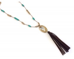 Gold Wild At Heart Brown Leather Tassel Necklace