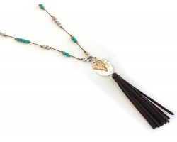 Silver Wild At Heart Brown Leather Tassel Necklace