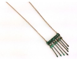 Patina 7 Arrows On Bar Silver Chain Necklace