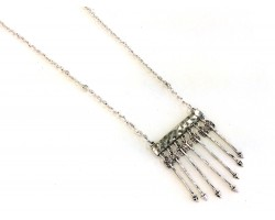 Silver 7 Arrows On Bar Silver Chain Necklace