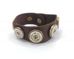 Silver Gold 12 ga Bullet Back Leather Bracelet