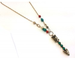 Antique Gold Turquoise Coral Arrow Necklace