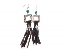 Silver Square Brown Leather Tassel Hook Earrings