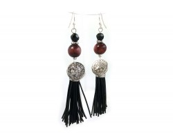 Black Tassel, Silver Coin Wood Crystal Hook Earrings