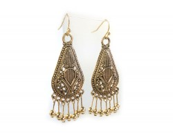 Gold Antiqued Filigree Bohemian Teardrop Hook Earrings