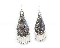 Silver Antiqued Filigree Bohemian Teardrop Hook Earrings