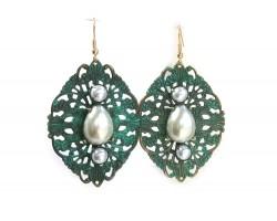 Patina Pearls Filigree Stamping Hook Earrings