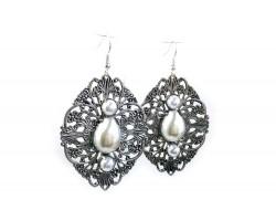 Silver Pearl Filigree Stamping Hook Earrings