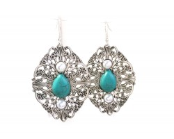 Silver Turquoise Filigree Stamping Hook Earrings