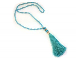 Aquamarine Crystal Gold Tassel Necklace