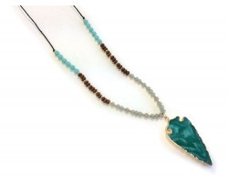 Turquoise Stone Gold Edge Arrow Necklace
