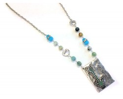 Antique Silver Turquoise Courage Arrow Necklace