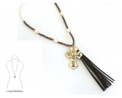Wood Pearl Tassel Cross Amazing Grace Necklace