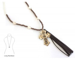 Wood Pearl Tassel Cross Faith Necklace