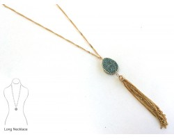 Aqua Crystal Inlay Teardrop Gold Tassel Necklace