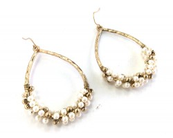 Gold Hoop Pearls Wire Wrap Hook Earrings