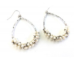 Silver Hoop Pearls Wire Wrap Hook Earrings