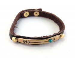 Gold Bar Turquoise Stone Arrow Leather Snap Bracelet
