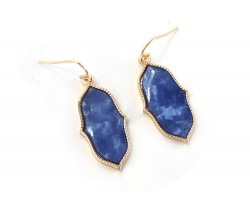 Blue Gold Persian Window Styled Hook Earrings