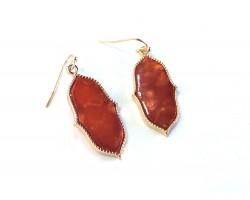 Red Gold Persian Window Styled Hook Earrings