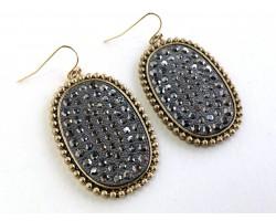 Hematite Crystal Gold Oval Bezel Hook Earrings