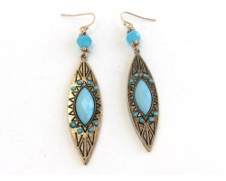 Turquoise Gold Marquise Tribal Etched Hook Earrings