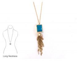 Aqua Rectangle Stone Bezel Chain Tassel Necklace