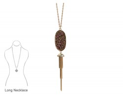 Hematite Crystal Inset Oval Chain Tassel Necklace