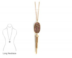 Pink Crystal Inset Oval Chain Tassel Necklace
