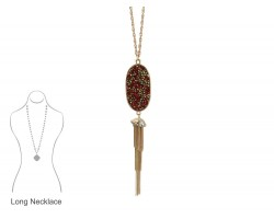 RED Crystal Inset Oval Chain Tassel Necklace