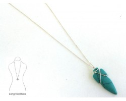 Turquoise Composite Carved Arrowhead Necklace