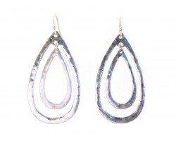 Silver Teardrop Outline Hook Earrings