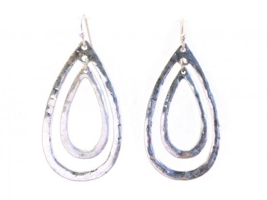 Silver Teardrop Outline Hook Earrings