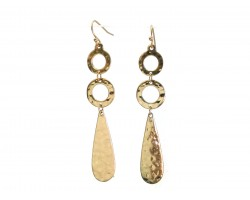 Gold Hammered Long Ring Teardrop Hook Earrings