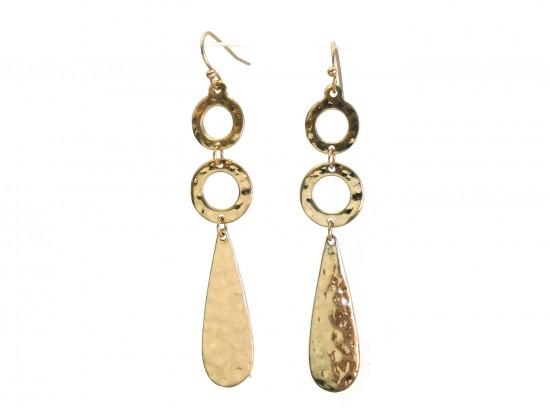 Gold Hammered Long Ring Teardrop Hook Earrings