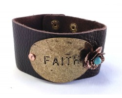 Gold Oval Faith Rose Leather Snap Bracelet