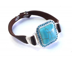 Turquoise Square Crystal Leather Snap Bracelet
