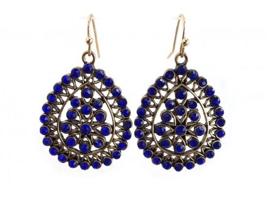 Blue Crystal Boho Hook Earrings